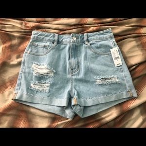 Pacsun Light Wash Distressed Mom Shorts